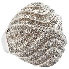 14 Karat White Gold Diamond Multi-Row Domed Cocktail Ring
