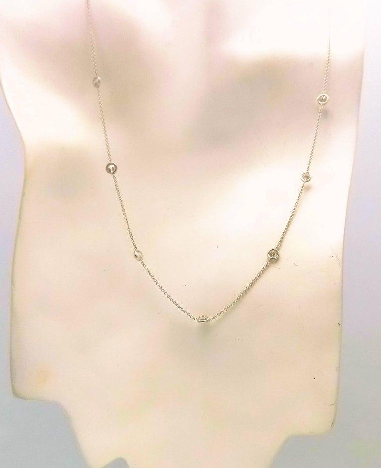 Round Cut 14 Karat White Gold Diamond Necklace...DBY...Diamonds by the Yard For Sale