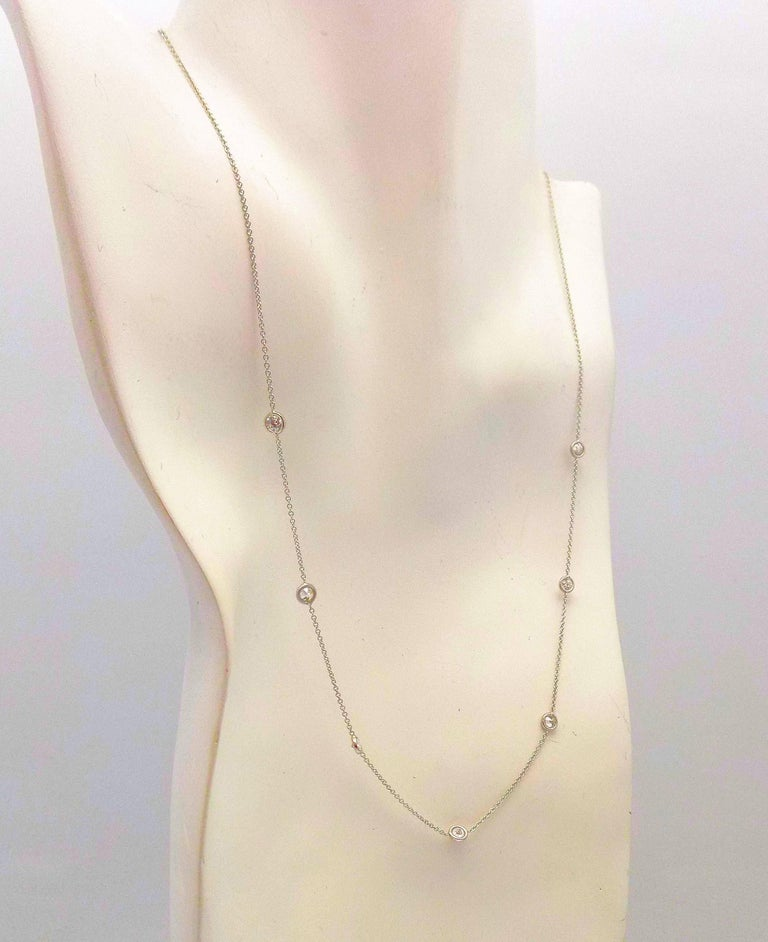 14 Karat White Gold Diamond Necklace...DBY...Diamonds by the Yard In As New Condition For Sale In Dallas, TX