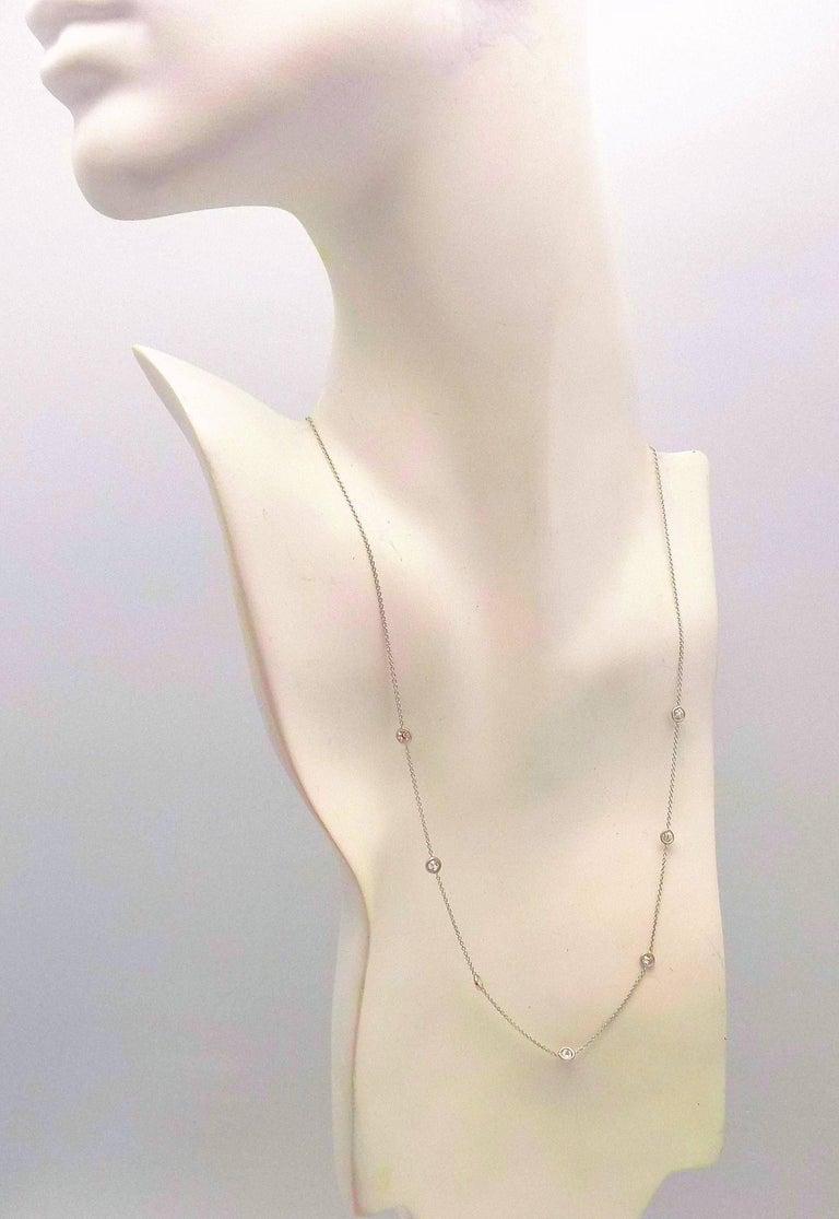 Women's 14 Karat White Gold Diamond Necklace...DBY...Diamonds by the Yard For Sale