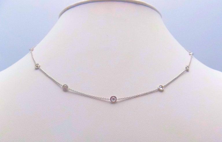 14 Karat White Gold Diamond Necklace...DBY...Diamonds by the Yard For Sale 3