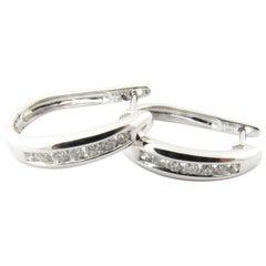 14 Karat White Gold Diamond Oval Hoop Earrings