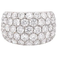 14 Karat White Gold Diamond Pave Five-Row Band