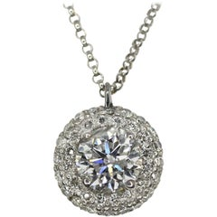 14 Karat White Gold Diamond Pave Pendant