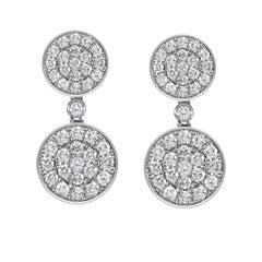 14 Karat White Gold Diamond Pave Round Disc Earrings