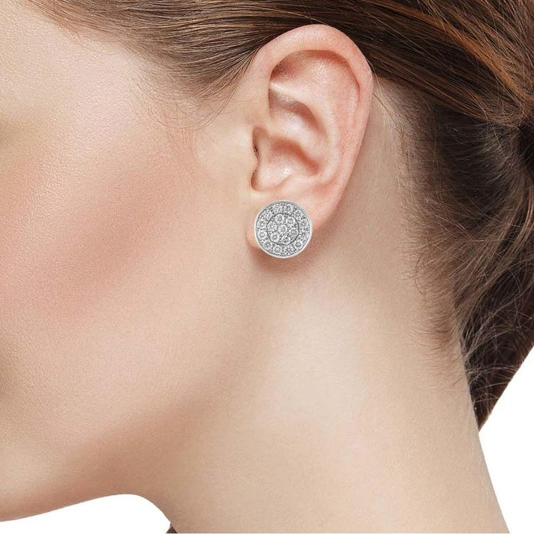 Round Cut 14 Karat White Gold Diamond Pave Round Disc Earrings Omega Back Style Clasps For Sale