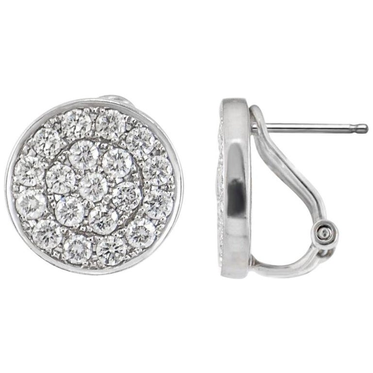 14 Karat White Gold Diamond Pave Round Disc Earrings Omega Back Style Clasps For Sale