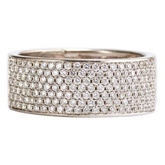 14 Karat White Gold Diamond Pave Set Band Ring