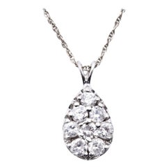 14 Karat White Gold Diamond Pear Pendant Necklace