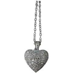 14 Karat White Gold Diamond Puffed Heart