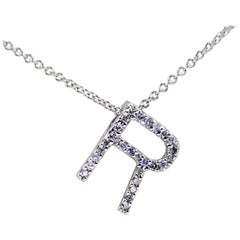 14 Karat White Gold Diamond R Initial Necklace