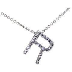 14 Karat White Gold Diamond R Initial Necklace