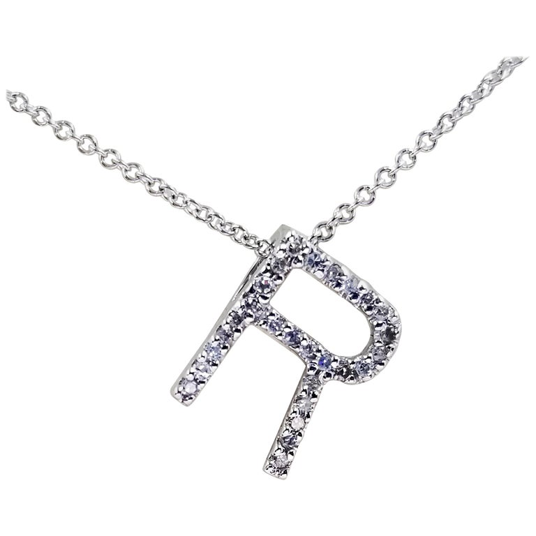 14 Karat White Gold Diamond R Initial Necklace For Sale