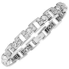 14 Karat White Gold Diamond Rectangle Link Retro Unisex Bracelet