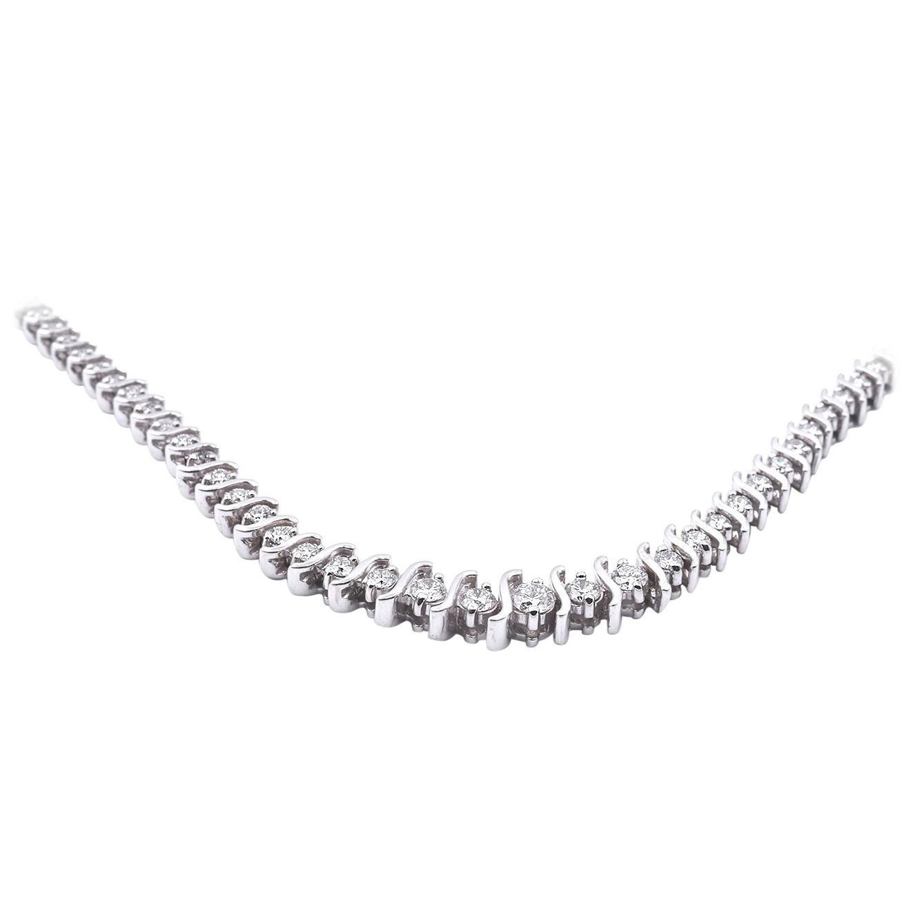 "14 Karat White Gold Diamond ""S"" Link Graduated Inline Necklace"