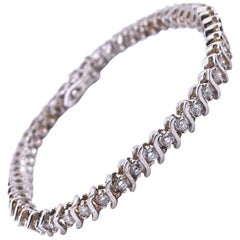 "14 Karat White Gold Diamond ""S"" Link Tennis Bracelet"