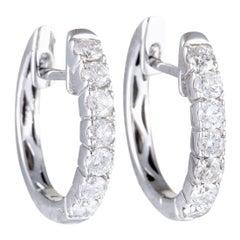 14 Karat White Gold Diamond Small Hoop Earrings