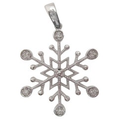 14 Karat White Gold Diamond Snowflake Pendant Charm