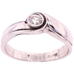 14 Karat White Gold Diamond Solitaire Engagement Ring