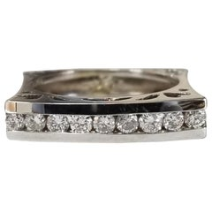 14 Karat White Gold Diamond Square Ring