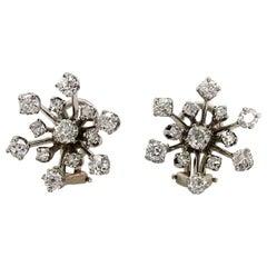 14 Karat White Gold Diamond Starburst Earrings