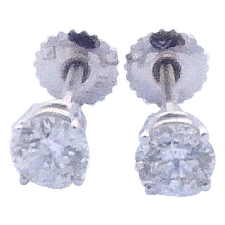 14 Karat White Gold Diamond Stud Earrings 1.0 Carat For Sale