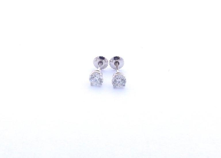 Women's or Men's 14 Karat White Gold Diamond Stud Earrings 1.0 Carat For Sale