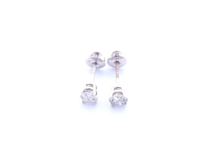 14 Karat White Gold Diamond Stud Earrings 1.0 Carat For Sale 1