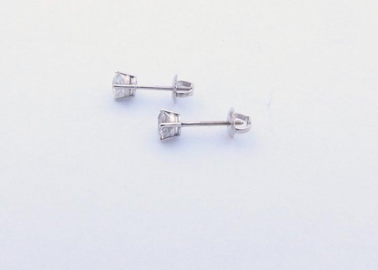 14 Karat White Gold Diamond Stud Earrings 1.0 Carat For Sale 2