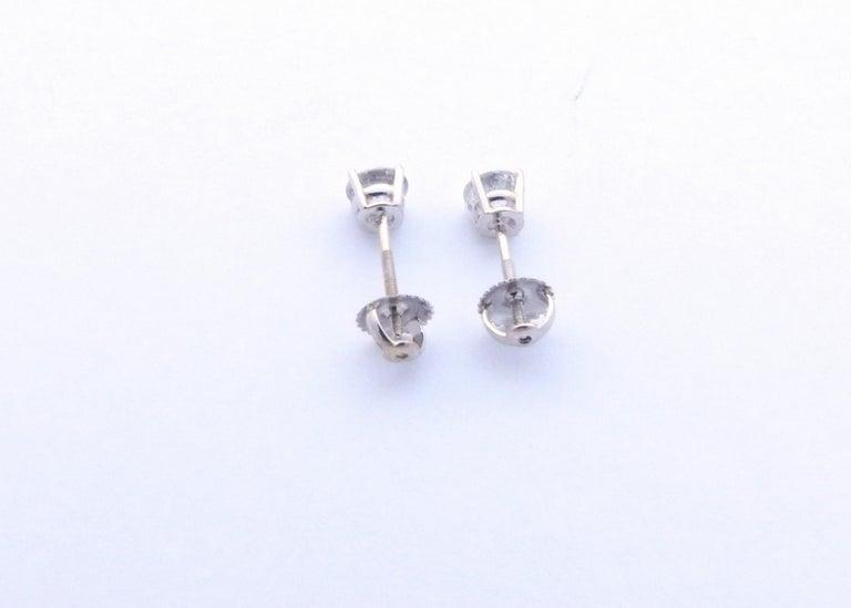 14 Karat White Gold Diamond Stud Earrings 1.0 Carat For Sale 3