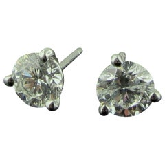 14 Karat White Gold Diamond Stud Earrings 1.00 Carat