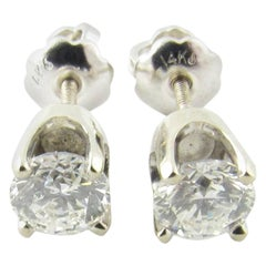 14 Karat White Gold Diamond Stud Earrings .60 Carat