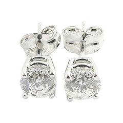14 Karat White Gold Diamond Stud Earrings .67 Carat Twt