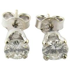 14 Karat White Gold Diamond Stud Earrings .84 Carat