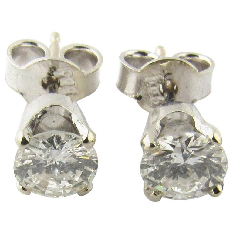 14 Karat White Gold Diamond Stud Earrings .84 Carat For Sale