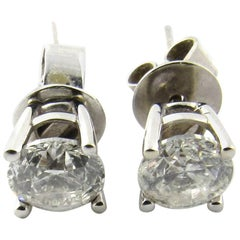 14 Karat White Gold Diamond Stud Earrings .85 Carat