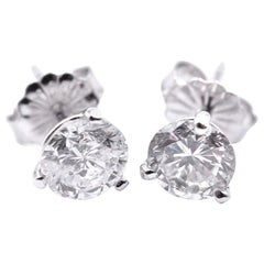 14 Karat White Gold Diamond Stud Earrings with a Total Weight of 1.35 Carat