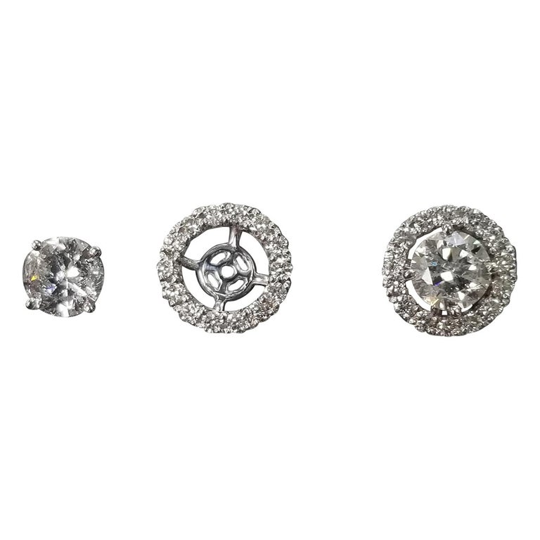 14 Karat White Gold Diamond Stud Earrings with Diamond Halo-Jackets For Sale