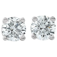 14 Karat White Gold Diamond Studs 2.04 Carat