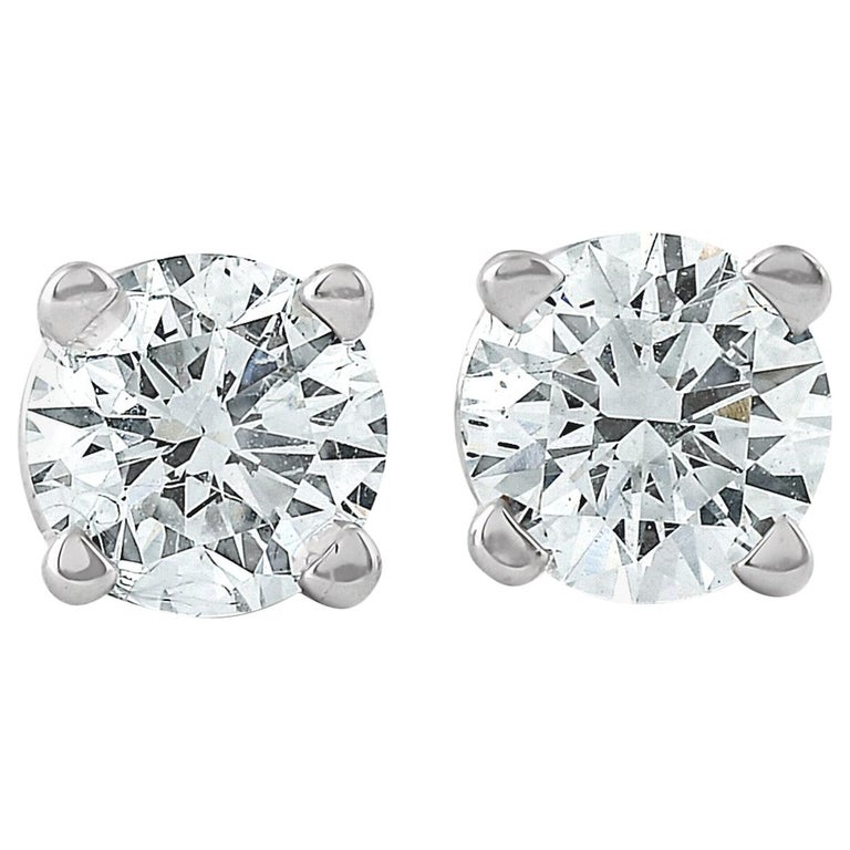 14 Karat White Gold Diamond Studs 2.04 Carat For Sale
