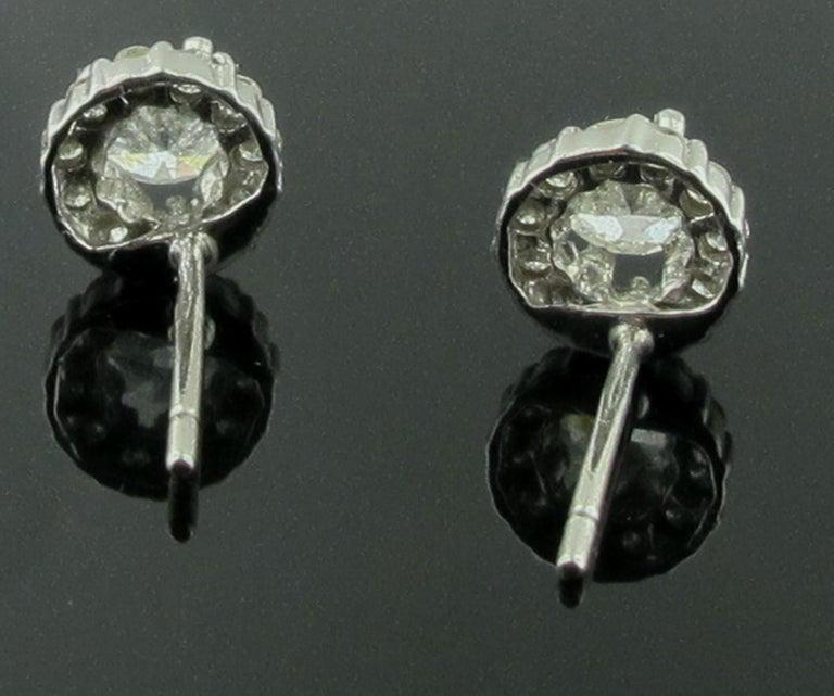 Women's or Men's 14 Karat White Gold Diamond Studs For Sale