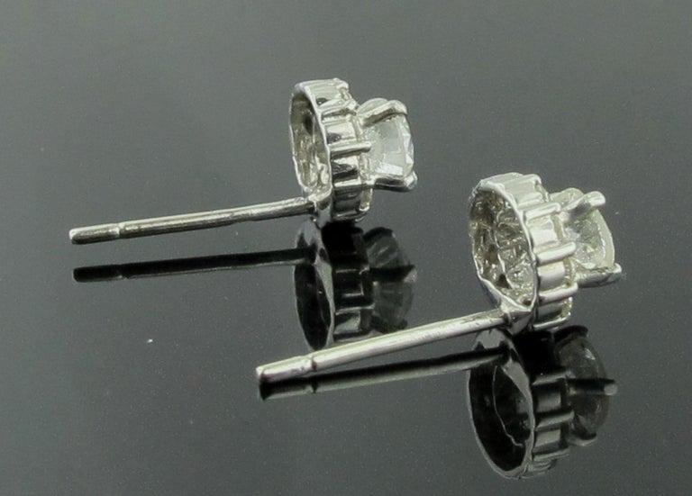 14 Karat White Gold Diamond Studs For Sale 1