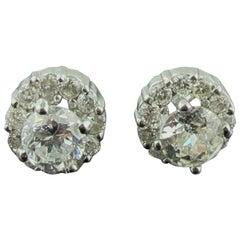 14 Karat White Gold Diamond Studs