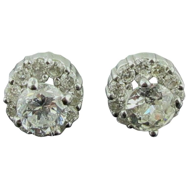 14 Karat White Gold Diamond Studs For Sale