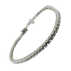 14 Karat White Gold Diamond Tennis Bracelet 2.00 Carat