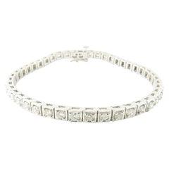 14 Karat White Gold Diamond Tennis Bracelet 3.08 Carat