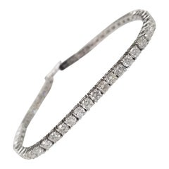 14 Karat White Gold Diamond Tennis Bracelet 5.29 Carat