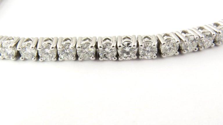 Women's 14 Karat White Gold Diamond Tennis Bracelet 5.5 Carat For Sale