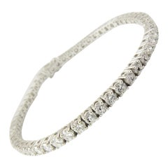 14 Karat White Gold Diamond Tennis Bracelet 5.5 Carat