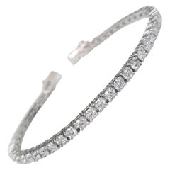 14 Karat White Gold Diamond Tennis Bracelet 5.75 Carat
